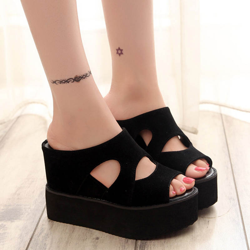Cement Special Offer Fish Mouth Flatform Cut Outs Black Wedge Pump Suede Shoes font b Woman