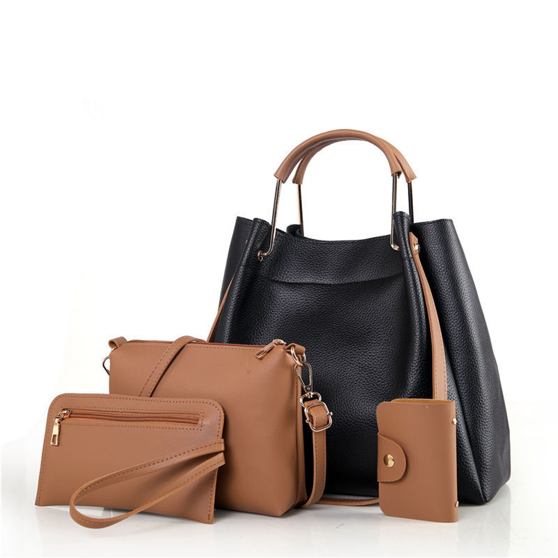 2017 fashion 4pcs/set Women's Handbag PU Leather Women Bag Female Tote bags Ladies  Messenger Bag Purse Composite Shoulder Bag fashion women chain messenger bag female envelope bags clutch purse bag ladies pu leather satchel shoulder handbag