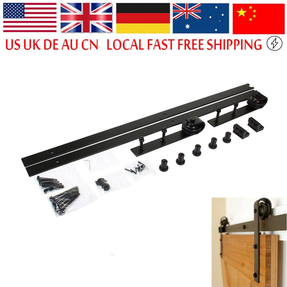Sliding door hanging rail wood door hardware set steel for Sliding door rail