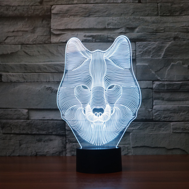 Colorido Lobo 3D Lámpara USB Luz de la Noche LLEVÓ la Luz del Escritorio Lámpara de Escritorio de Tabla Del Interruptor Del Tacto de la novedad para Los Niños Regalo Hogar decoración