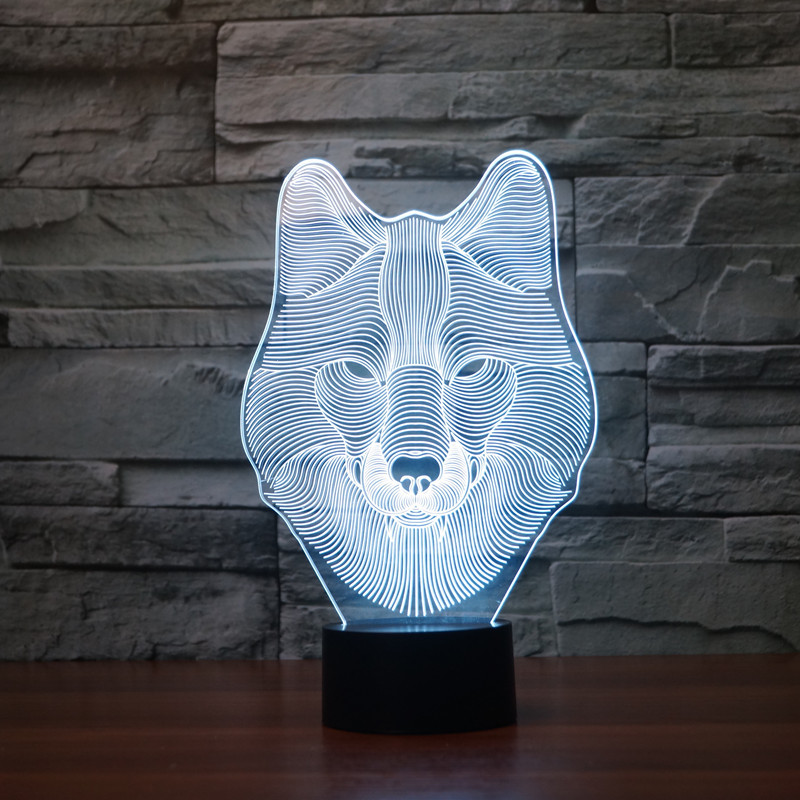 TAMPROAD Colorful Wolf 3D Lamp Night Light USB LED Desk Light Novelty Touch Switch Table Desk Lamp for Kids Gift Home Decoration