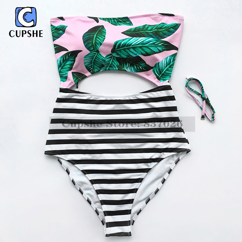 CUPSHE Women Leaves Stripe Printing Halter One-piece Swimsuit Summer Sexy Swimsuit 2018 Ladies Beach Bathing Swimwear Monokini wrap halter swimsuit