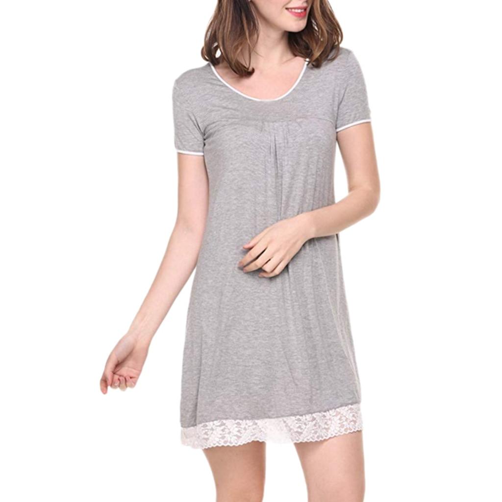 Womens Nightgown Short Sleeve Sleep Shirt Dress Soft Loose Sleepwear with Lace T shirt striped dresses Vestido de verao(China)