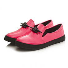 2016 New font b Women b font Loafers Casual Flats Heels Round Toe Pink Black Loafer