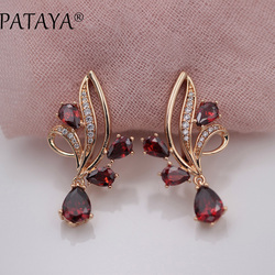 PATAYA New Arrivals Pomegranate Red Water Drop Natural Zirconia Dangle Earrings Women 585 Rose Gold Wedding Party Trendy Jewelry