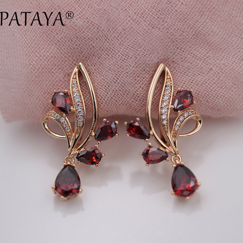PATAYA New Arrivals Pomegranate Red Water Drop Natural Zirconia Dangle Earrings Women 585 Rose Gold Wedding