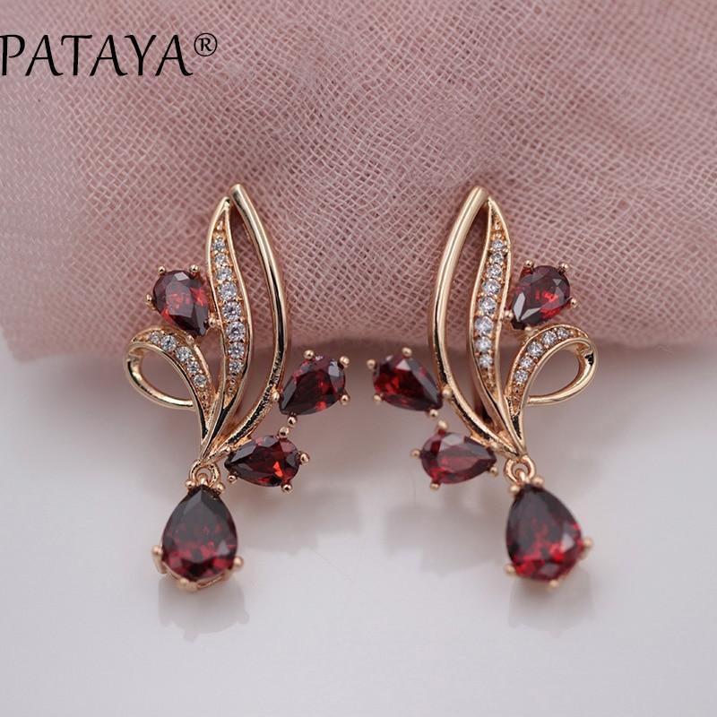 PATAYA New Arrivals Pomegranate Red Water Drop Natural Zirconia Dangle Earrings Women 585 Rose Gold Wedding