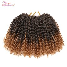 Golden Beauty 8inch Kinky Curly Synthetic Braiding Hair Extensions Ombre Bob Marley Braid Hair Crochet Braids 60 Strands/Pack(China)
