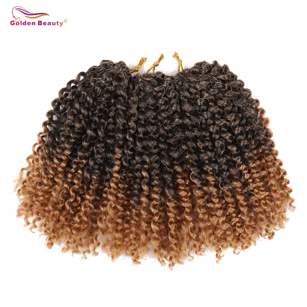 Golden Beauty 8inch Kinky Curly Syntetisk Braiding Hårförlängningar Ombre Bob Marley Braid Hair Crochet Braids 60 Strands / Pack