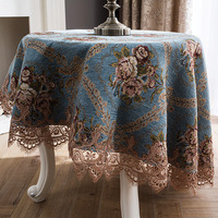 Round Square blue chenille lace tablecloths table Table dinner cover mat Europe beauty flower polyester home Dec FG904 2