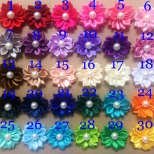 hot sale hair flowers accessories satin ribbon flowers with