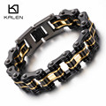 Kalen Trendy Bike Chain Bracelet Men's 316 Stainless Steel Heavy Chunky Black & Gold Bicycle Chain Bracelets Male Accessory Gift
