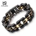 Kalen Trendy Bike Chain Bracelet Men's 316 Stainless Steel Heavy Chunky Black & Gold Bicycle Chain Bracelets Male Accessory Gift