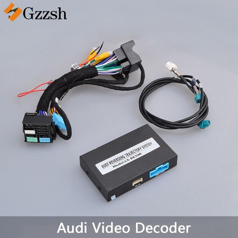 Adaptador de câmera de visão traseira do carro decodificador de vídeo para Audi A3 A4L A5 A6L A7 Q7 S3 com radar de rastreamento dinâmico VGA interface de entrada de HD