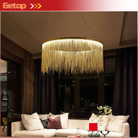 Post Modern Aluminum Tassel Round Pendant light Living Room Dining Room Villa Luxury Artistic European Style LED Light Office