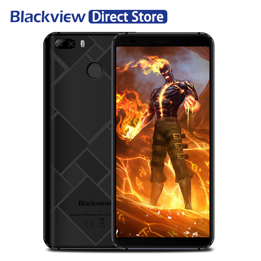 Blackview S6 MT6737 Quad Core Dual Rear Camera Smartphone 18:9 5.7''HD+ Fingerprint Mobile Phone 2+16GB Android 7.0 4G Cellphone