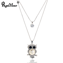 RAVIMOUR Owl Long Necklace Women Fashion Created Pearl Jewelry Double Silver Color Chain Choker Big Zircon Necklaces & Pendants