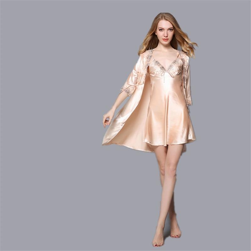 Ladies Sexy Silk Satin Robe Gown Set Lace Bathrobe Set Summer Bath Robe Set Sleepwear Set Robe+Nightdress 2 Pieces For Women