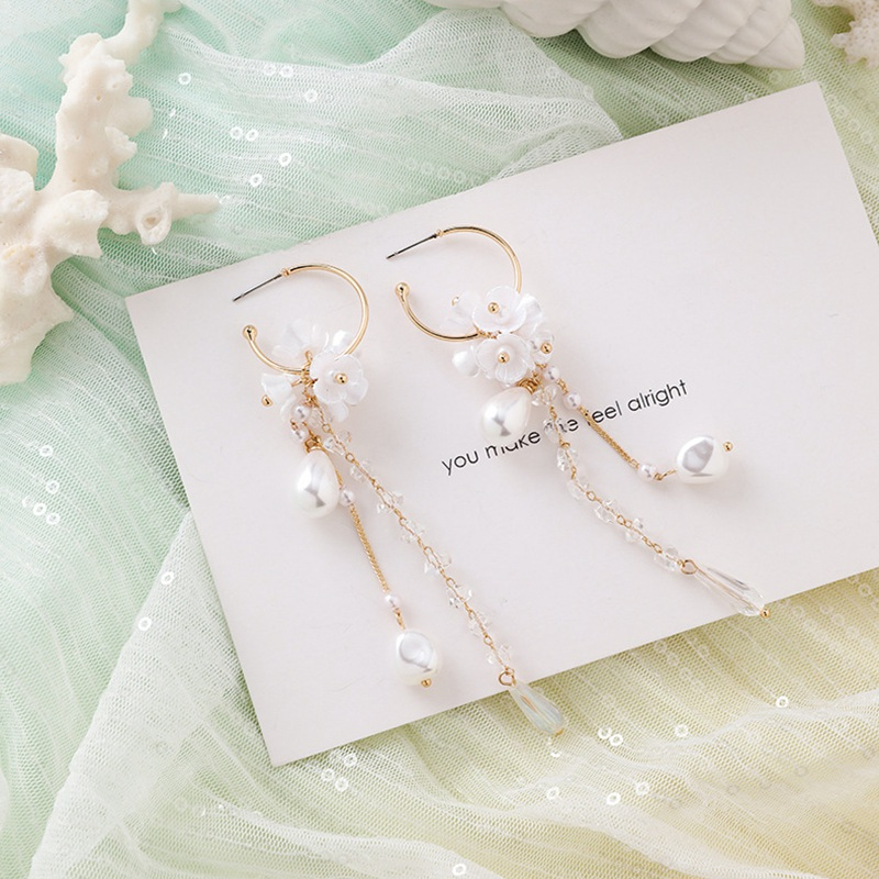 MENGJIQIAO New Korea Japan Elegant Shell Starfish Drop Earrings For Women Sweety Simulated Pearl Pendientes Girl Party Jewelry 29