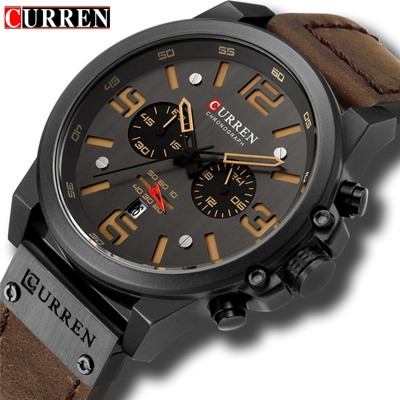 CURREN Top Luxury Brand Men's Military Waterproof Leather Sport Quartz Watches Chronograph Date Fashion Casual Men's Clock 8314-in Quartz Watches from Watches