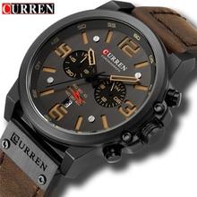 CURREN Top Luxury Brand Men's Military Waterproof Leather Sport Quartz Watches