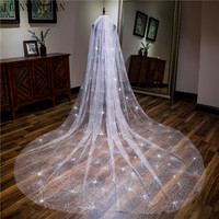 White 3.5 m One Layer Long Bridal Veil with Comb Tulle Beaded Lace Edge Cathedral Wedding Veil with Crystal Wedding Accessories
