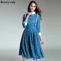 Hepburn Lapel Print Vintage Dress Womens Dresses New Arrival 2018 Vestidos Mujer Ukraine Christmas Blue Retro