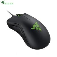 Razer gaming mouse deathadder 컴퓨터 랩톱 pc 마우스 용 인체 공학적 전문가 용 마우스 6400 인치 당 점 광학 센서