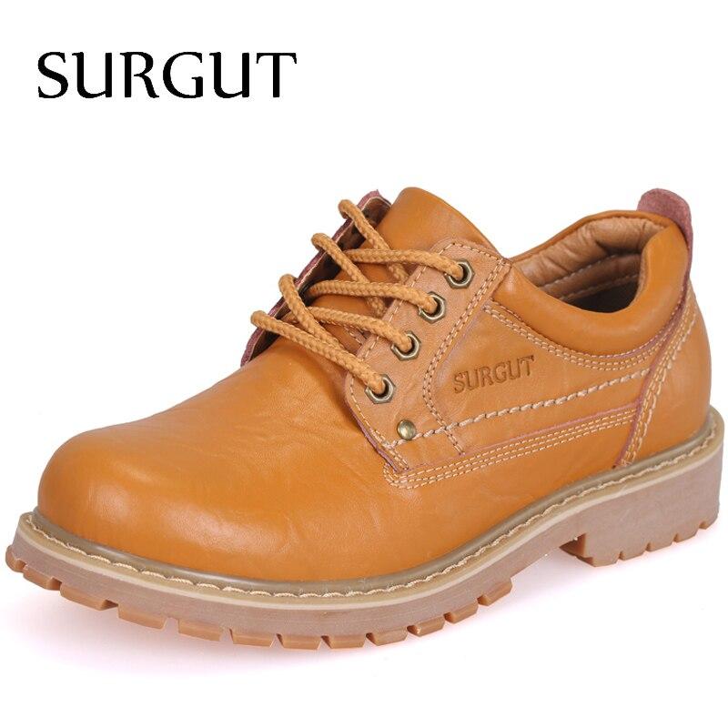SURGUT Marca Hombres de Cuero Genuino Lleno Zapatos Ocasionales Hechos A Mano de