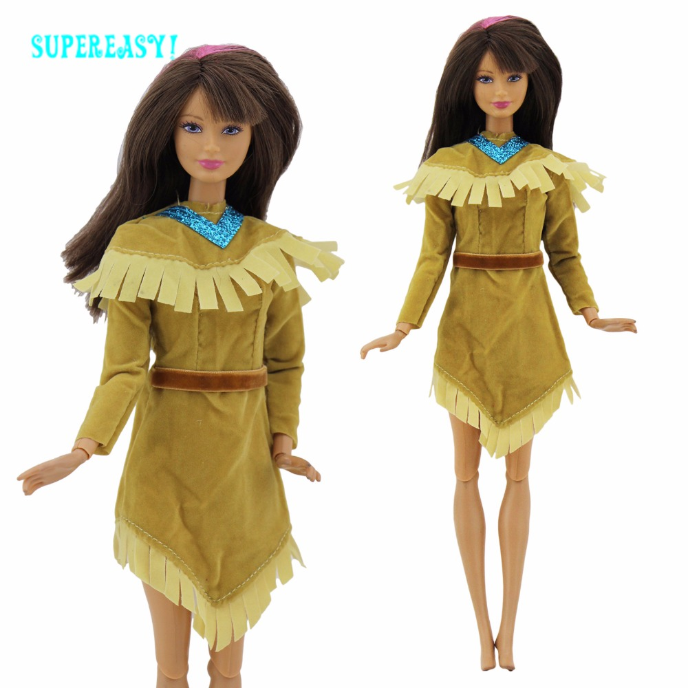 Exotic Indian Dress Long Sleeves Outfit Princess Mini Gown Copy Pocahontas Costume For Barbie FR Kurhn Doll Clothes With Belt