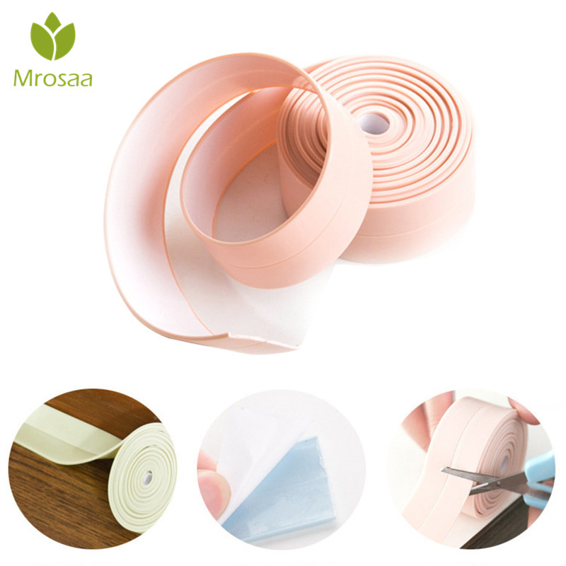 1 Pcs Mrosaa 255cm PVC Anti-fouling Waterproof Sticker Wall Seal Ring Strip Toilet Kitchen Sink Ring Tape Wall Corner Decoration