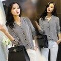 2015 новых осенью блузка шифон рубашки женская полосатый одежда рубашка с длинным рукавом шифон женщины работают износа вершины 41