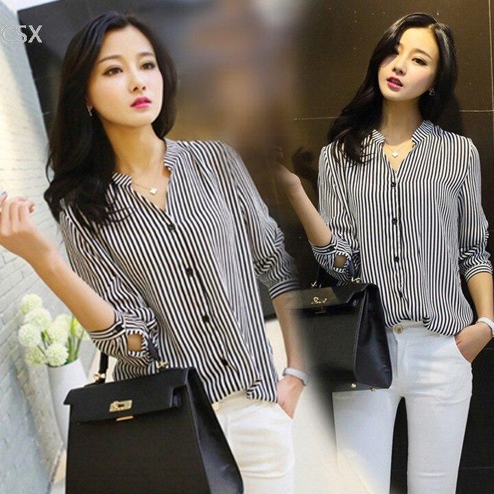 621050928e3 MwOiiOwM 2018 New autumn blouse chiffon shirts women striped clothing shirt  long sleeve chiffon blouse women work wear tops 41