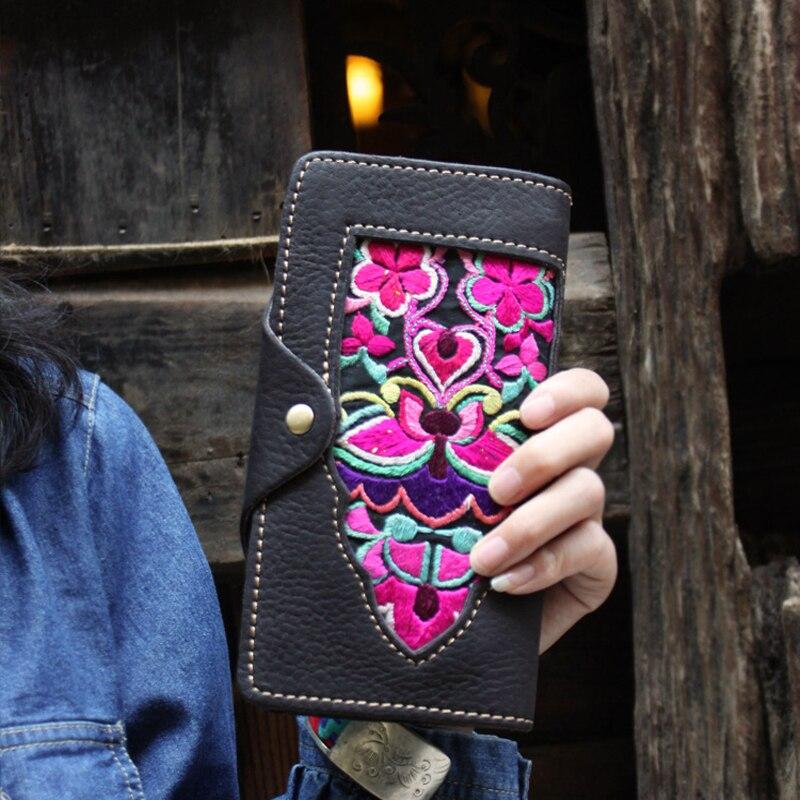 Новые оригинальные марки дизайн руководитель слой коровьей старый вышитые женщины кошелек старинные чистый ручной работы из натуральной к...