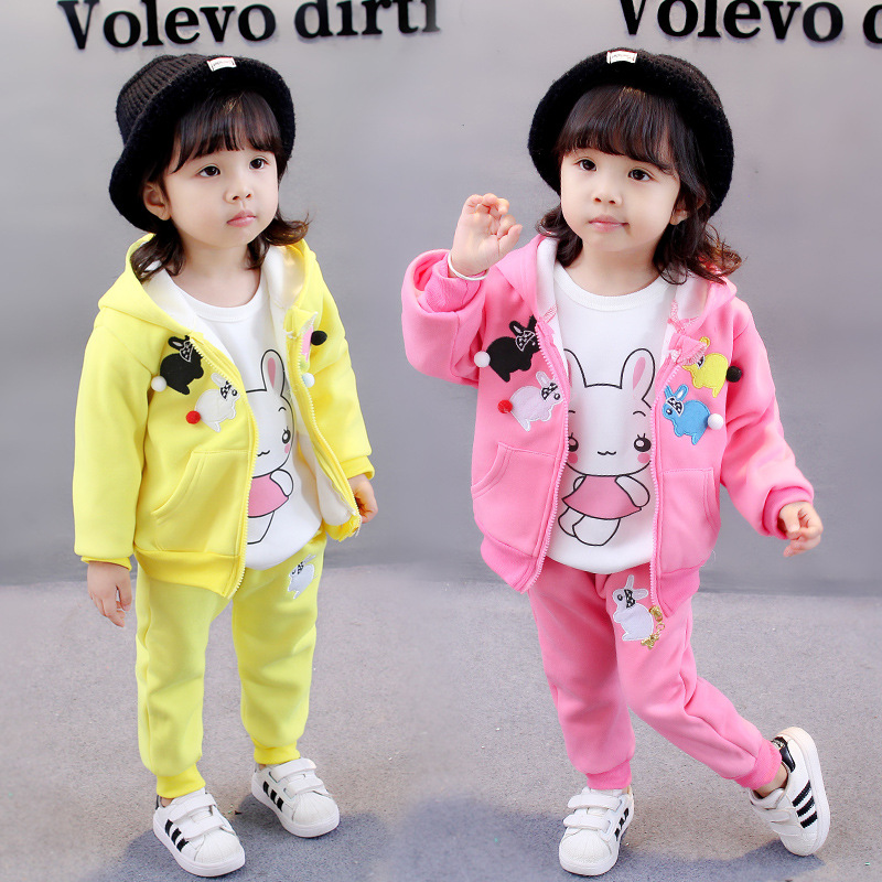 ViGarBear 2018 Spring New thick Cotton 3 pieces children wear Korean children clothing suit 1-4 years Baby girls clothing set 2018 spring new korean girls cotton dot