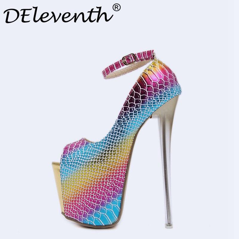 Sexy Pumps women 2017 Geometric Rainbow Platform Shoes Pumps Peep Toe Ultra High Heels Night Club Catwalk shoes Sapato Feminino peep inside night time