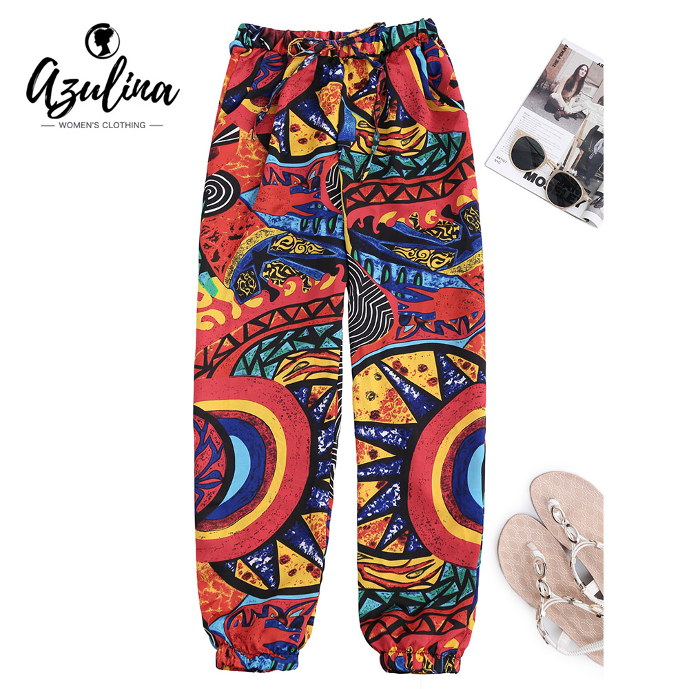 AZULINA Graffiti Print Tapered Drawstring Beach Pants Women Pant Mid Waist Pants Female Women Trousers Casual Summer Loose Pants