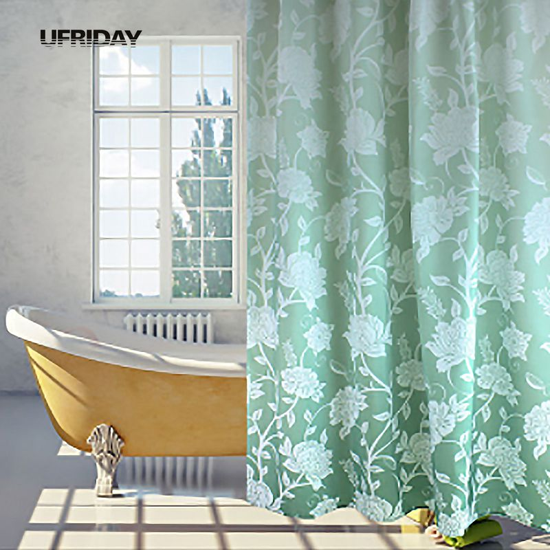 Elegant Bathroom Curtain Sets: UFRIDAY Elegant Polyester Waterproof Shower Curtain Bath
