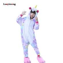 Купить с кэшбэком Girls Boys Winter Kigurumi Pajamas Unicorn Cartoon Animal Onesies Sleepwear Coral Fleece Warm Jumpsuit Children Pyjamas Kids