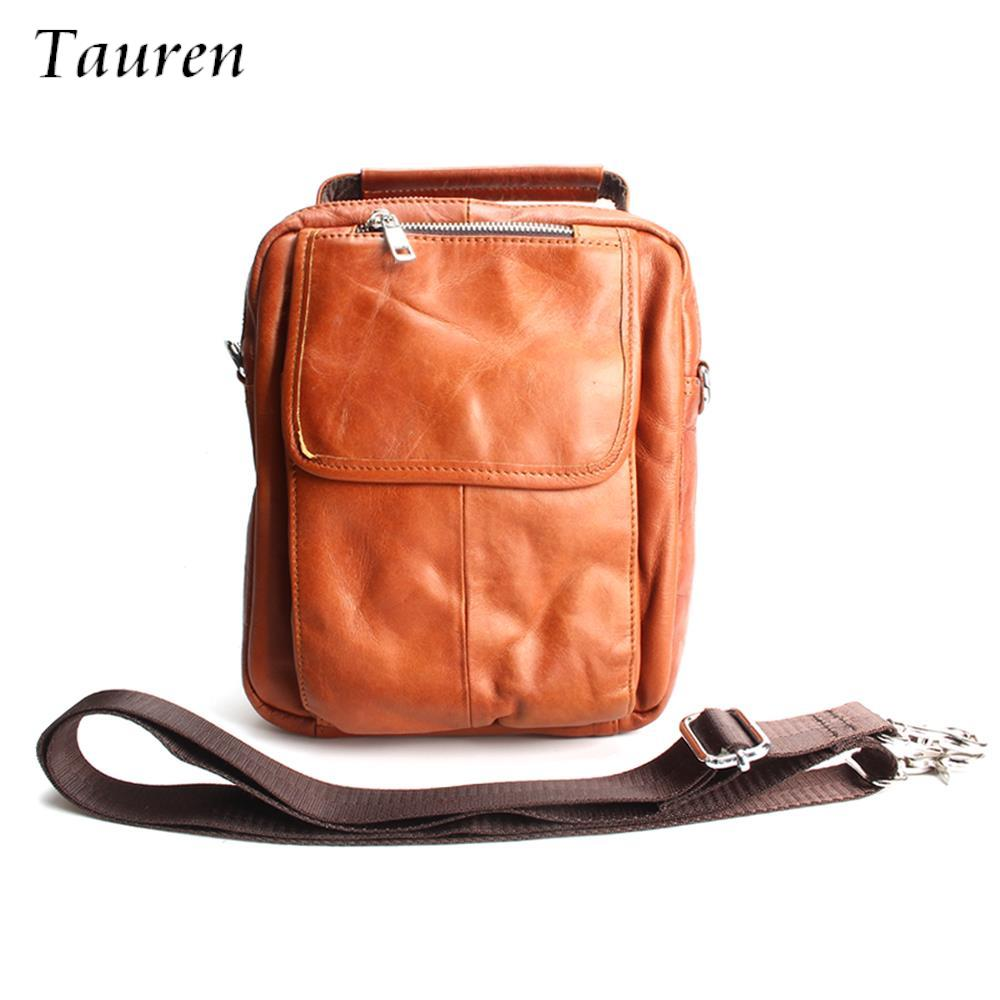 купить TAUREN Business Men Genuine Leather Bag Natural Cowskin Men Messenger Bags Vintage Men's Cowhide Shoulder Crossbody Bag по цене 2246.37 рублей