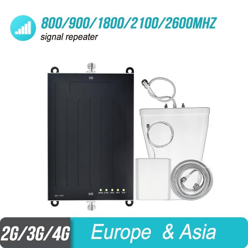 Lintratek Semi-La Mondialisation 5 Bande Signal Booster 800/900/1800/2100/2600 mhz Répéteur B20/B8/B3/B1/B7 Amplificateur Antenne Kit #4 + 1