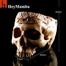 HeyMamba Archaize White Human Skull Planter Garden Storage Pots Resin Finish Skeleton Container Flowerpots For Decoration(China (Mainland))