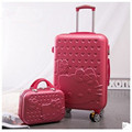 2PCS/SET Lovely 14inch Cosmetic bag hello Kitty 20 24 inches girl students trolley case Travel luggage woman rolling suitcase
