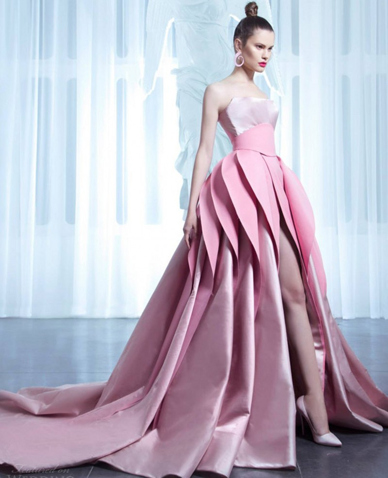 2017 New Arrival Designer Pink Wedding Dresses With Layered Skirt