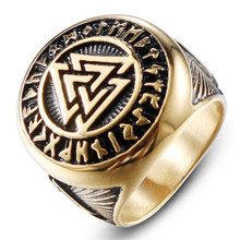 Vintage punk mens ring Viking triangle valknut stainless steel jewelry Metal fashion accessories male wholesale