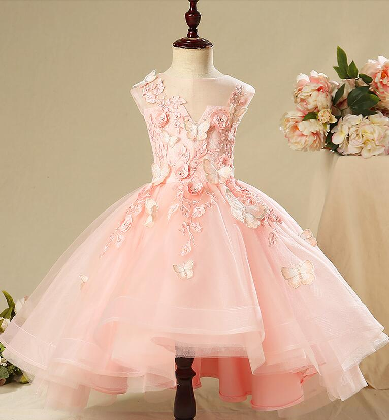 Elegant Pink Lace Girls Pageant Dress Appliques Flower Girl Dresses for Wedding Kids First Communion Gown