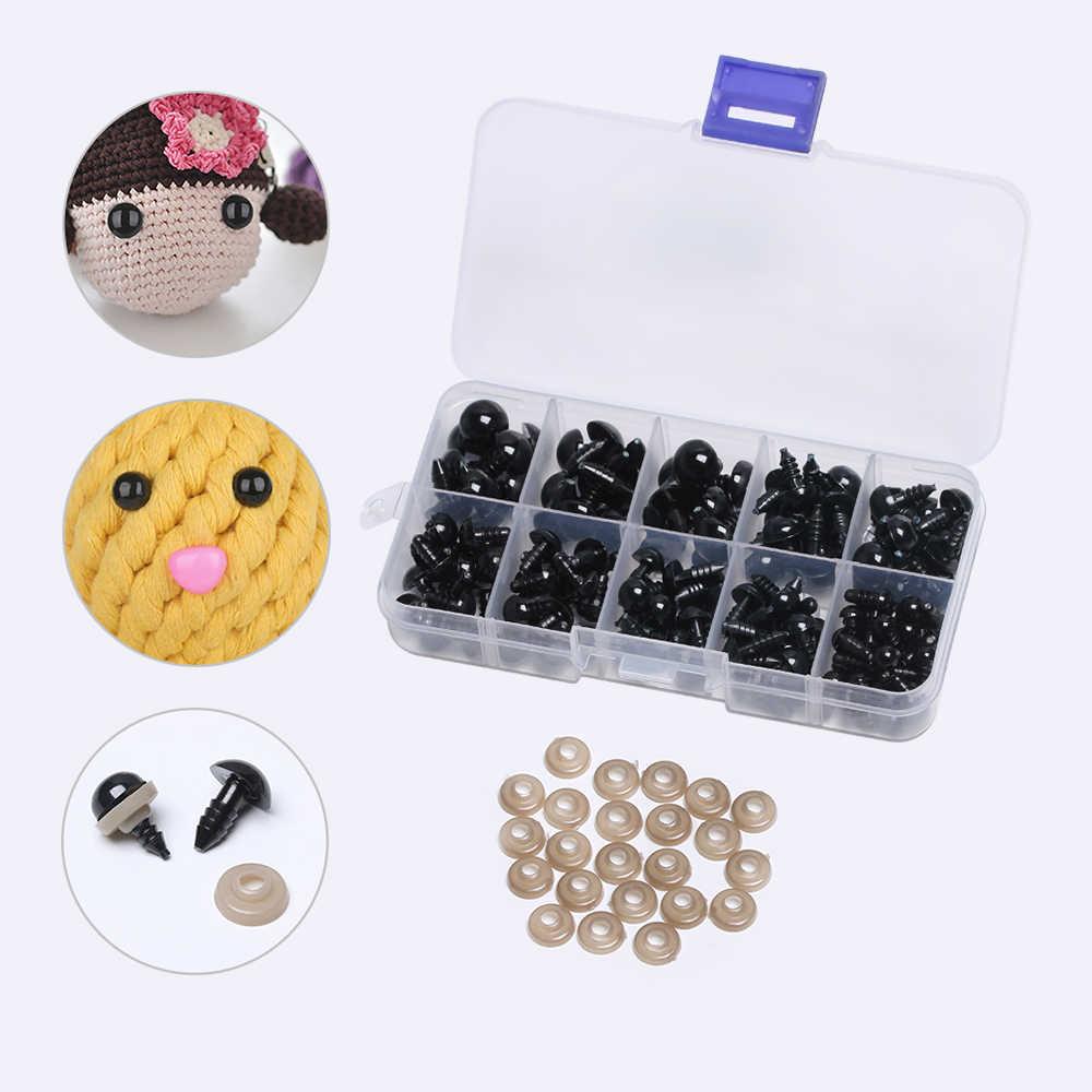 100/142 шт 6-12 мм мини черные пластиковые ремесла защитные глаза для плюшевого медведя ремесла мягкая игрушка животное кукла амигуруми DIY аксессуары