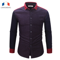 Langmeng 2017 Summer New Fashion Brand Clothing Short Sleeve Shirt Mens Plaid Shirts Slim Fit 100