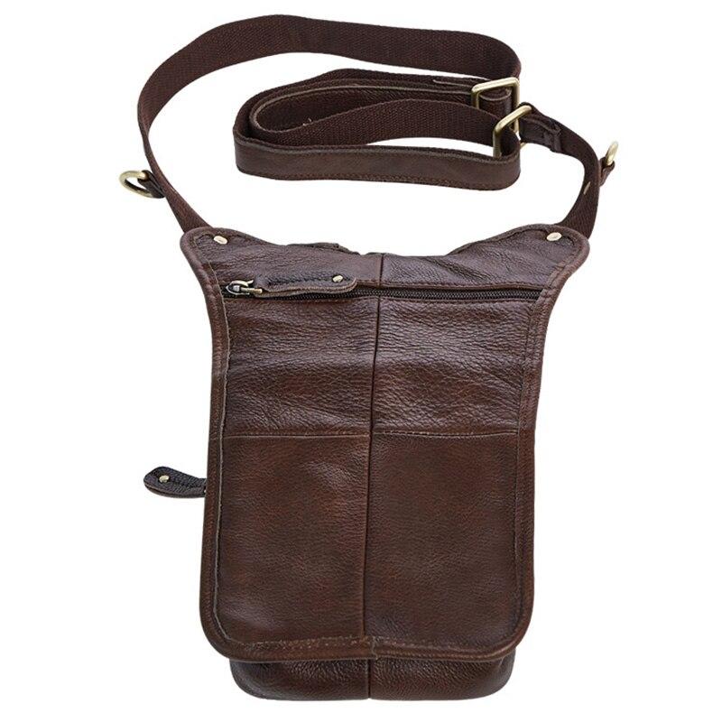 Genuine Leather Mens Sling Bag Single Shoulder Bag Men Chest Pack Messenger Crossbody Bag for Man