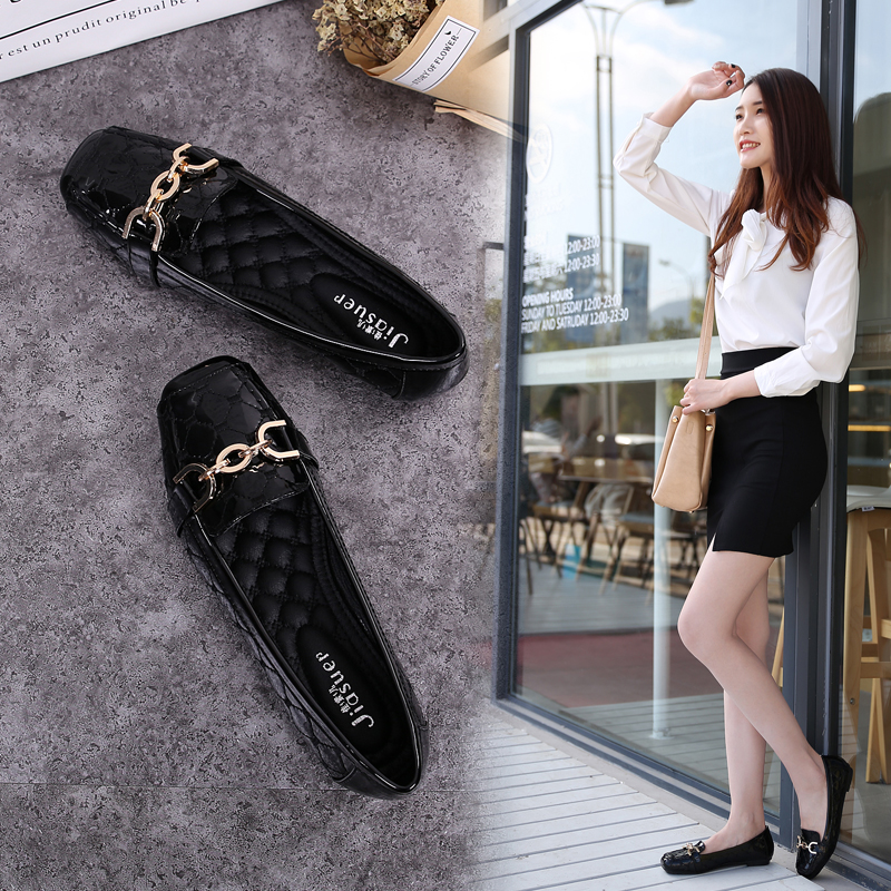 2018 Flat Shoes Woman Loafers Women Boat Shoes Party Wedding Dress Soft Bottom Square Toe Striking Luxury Brand Design Style 3